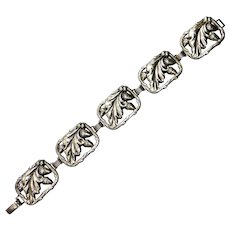 Danecraft Sterling Link Bracelet Acorn & Oak Leaf Pattern