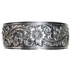 S Kirk & Son Repousse Sterling Floral Cuff Bracelet