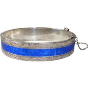Siam Sterling Engraved & Enameled Hinged Bangle Bracelet