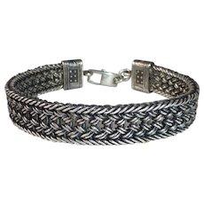 Sterling Silver Mens Woven Bracelet