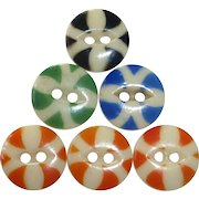 Vintage China Color Stencil Buttons Set of 6