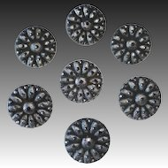 Victorian Silver Flashed Black Glass Buttons Set of 6