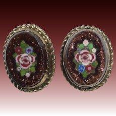 Button Pair Victorian Pietra Dura Style Mosaic in Goldstone