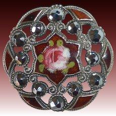 Ornate Antique Victorian Button Enamel Cut Steels Pierced