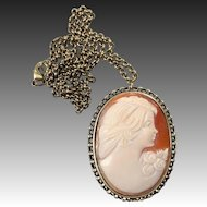 Hand Carved Shell Cameo Necklace