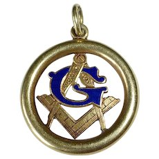 Antique 14k Enamel Masonic Fob Charm