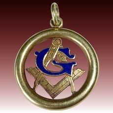 Antique 14k Enamel Masonic Fob Charm