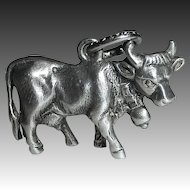 800 Silver Dimensional Detailed Cow Charm