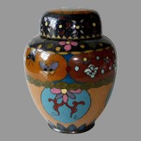 Antique Chinese 3 Pc Cloisonne Enamel Brass Ginger Jar