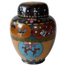 Antique Chinese 3 Pc Cloisonne Enamel Brass Ginger Jar