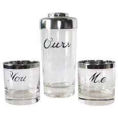 "Platinum Trimmed Clear Glass 3 pc Cocktail Shaker Set ""Me-You-Ours"""