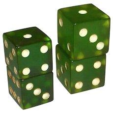 Prystal Green Bakelite Dice Set of 2 Pair