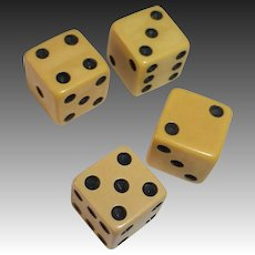 Creamed Corn Bakelite Dice Set of Four for Card or Board Games