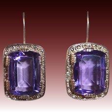 Antique Victorian 10&14k Amethyst Earrings