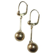 14k Yellow Gold Ball Drop Pierced Earrings