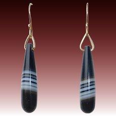 14k Antique Banded Agate Teardrop Earrings