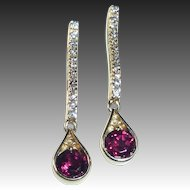 14k Diamond & Garnet Drop Pierced Earrings
