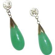 14k Jade Teardrop Pierced Earrings