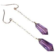 Art Deco Amethyst Cut Glass Long Drop Earrings