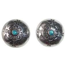 Native American Stamped Sterling & Turquoise Dome Earrings