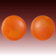 Sunny Matte Orange Bakelite Clip Earrings