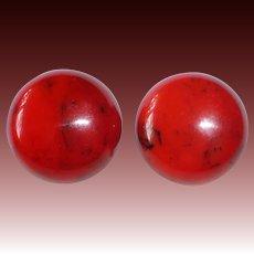 Cherry Red EOD Bakelite Domed Clip Earrings