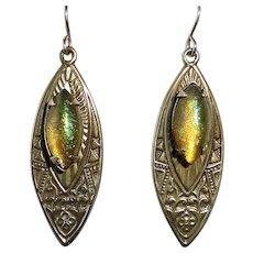 Egyptian Revival Brass Earrings w Color Change Art Glass Cabochons