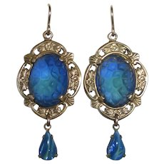 Brass Earrings w Blue-Green Frosted & Textured Art Glass Cabs