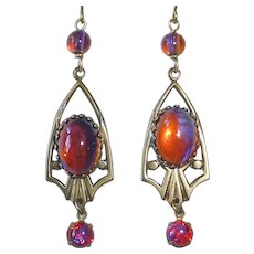 Dragons Breath Art Glass Color Change Brass Drop Earrings