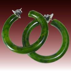Vintage Store Stock EOD Green Bakelite Pierced Hoop Earrings