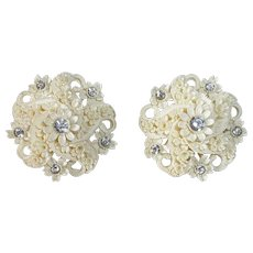 Featherweight Floral Clip Earrings w Rhinestones