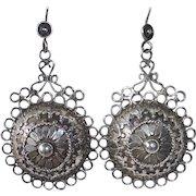 Ethnic Sterling Embellished Dome Drop Pierced Earrings