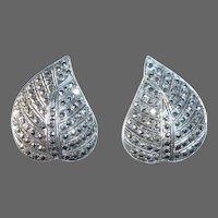 Sterling & Marcasite Dimensional Leaf Earrings