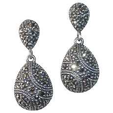 Art Deco Revival Sterling & Marcasite Teardrop Earrings