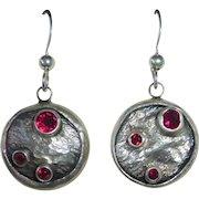 Modernist Sterling & Garnet Pierced Drop Earrings