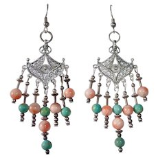 Ethnic Sterling Filigree Chandelier Earrings w Coral & Turquoise
