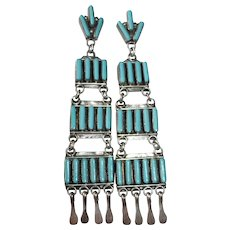 Native American Signed A. Pinto Zuni Sterling & Turquoise Tiered Needlepoint Earrings