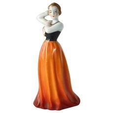 Art Deco Japan Porcelain Woman Figurine c1930s