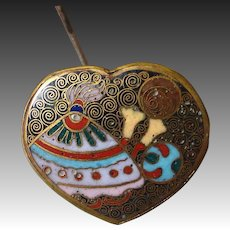 Rare Japanese Cloisonne Heart Top Hatpin