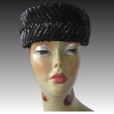 Mid Century Black Sequin Pillbox Hat
