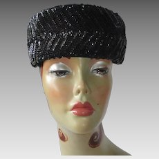 Mid Century Black Sequin Pillbox Hat