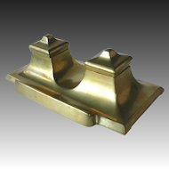 Art Deco Sleek Bronze Double Inkwell