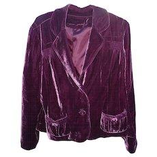 Maroon Silk & Rayon Velvet 1940s Jacket sz L