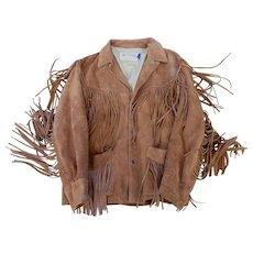 Mens Cowhide Suede Fringed Western Jacket