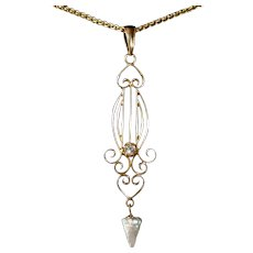 Art Deco 10k Diamond Lavaliere w Pearl Drop 14k Chain