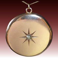 Large 10k Locket Engraved Star w Pearl 14k Chain