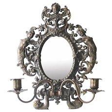 Antique Cast Iron Mirror w Cherub Nudes & Candle Sconces