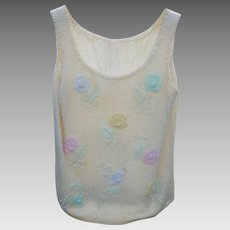 1950s Beaded & Faux Pearl Sleeveless Mohair & Wool Top