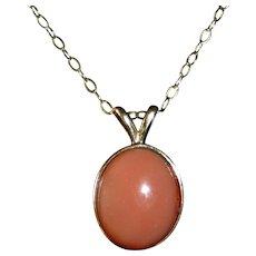 14k Oval Coral Cabochon Drop Necklace