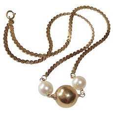 14k Gold Choker Chain Necklace Gold Orb w Cultured Pearls